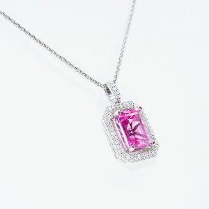 14k White Gold Natural Pink Tourmaline and Diamond Halo Pendant