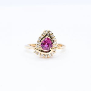 14k Yellow Gold Natural Pink Sapphire and Diamond Halo Ring