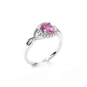 14k White Gold Natural Pink Sapphire and Diamond Ring