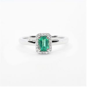 14k White Gold Natural Emerald and Diamond Halo Ring