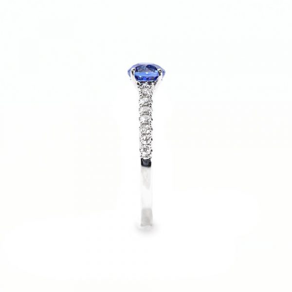 14k White Gold Natural Blue Sapphire and Diamond Ring