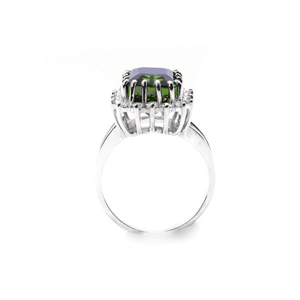 14k White Gold Natural Tourmaline and Diamond Halo Ring