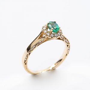 14k Yellow Gold Natural Emerald and Diamond Ring