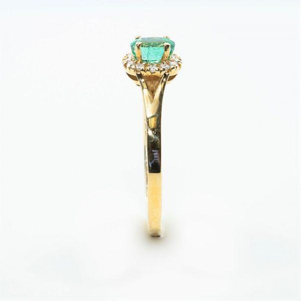 14k Yellow Gold Natural Emerald and Diamond Ring