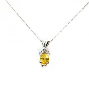 14k White Gold Natural Yellow Sapphire and Diamond Pendant