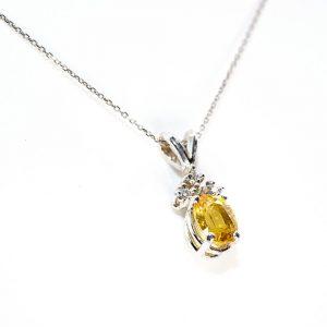 14k White Gold Natural Yellow Sapphire and Diamond Pendant