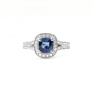 14k White Gold Natural Blue Sapphire and Diamond Halo Ring