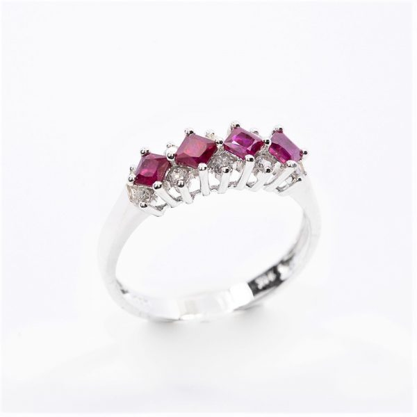 14k White Gold Natural Ruby and Diamond Ring