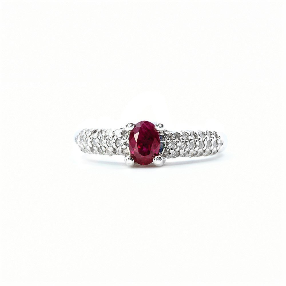 14k White Gold Natural Oval Ruby and Diamond Ring