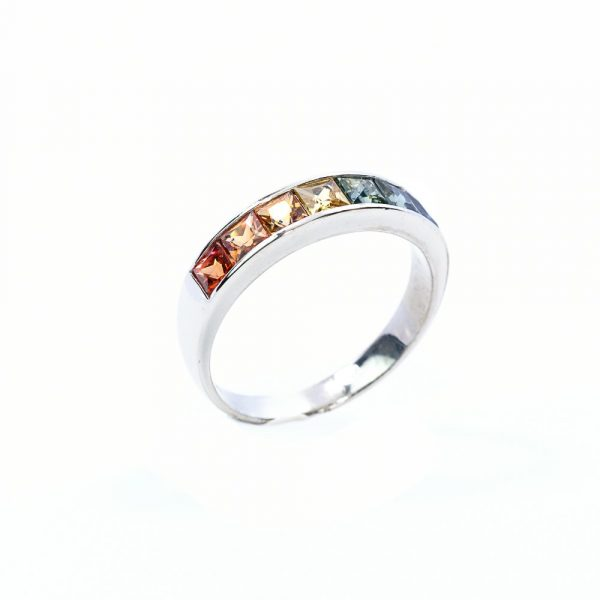 18k White Gold Natural Multi-Colored Sapphire Ring