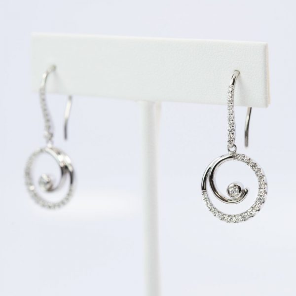 14k White Gold Natural Diamond Circle of Love Dangle Earrings