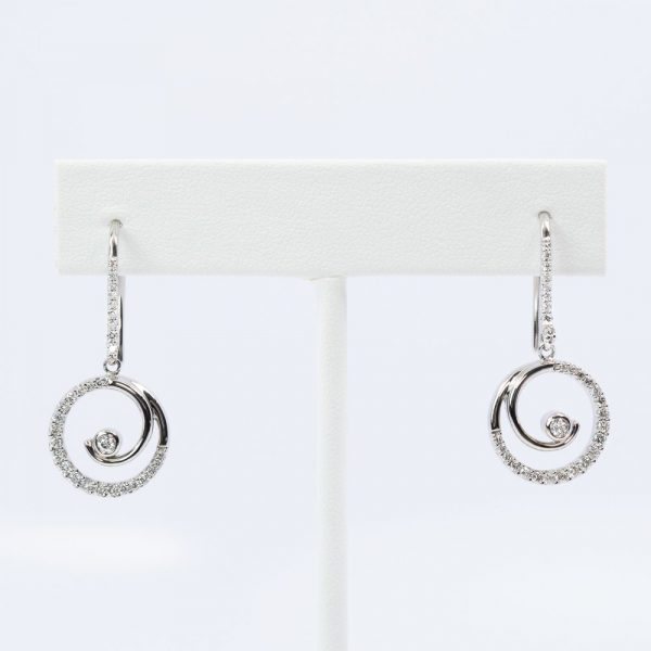 14k White Gold Natural Diamond Circle of Love Dangle Earrings