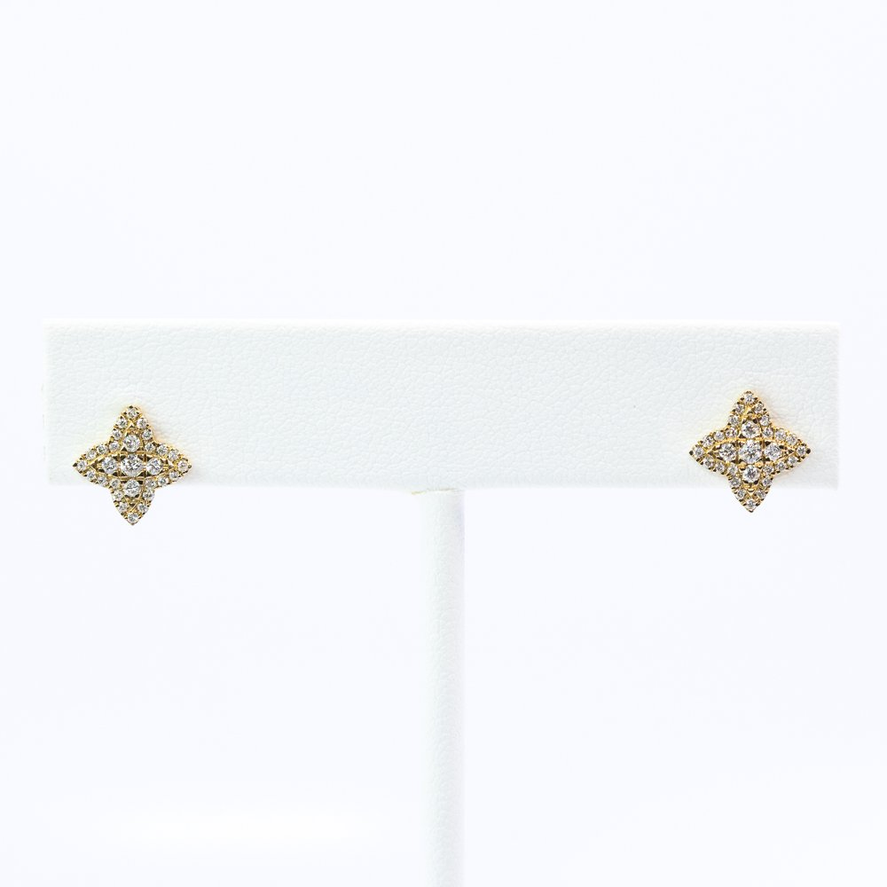 14k Yellow Gold Natural Diamond Micro-Pave Earrings
