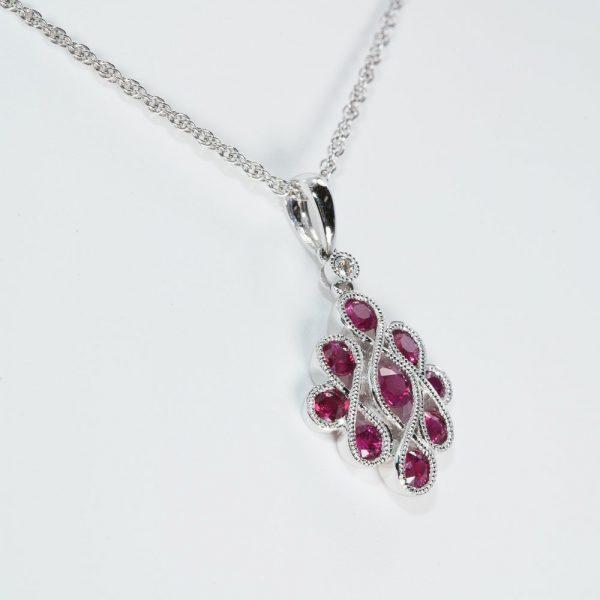 14k White Gold Natural Ruby and Diamond Infinity Ribbon Pendant