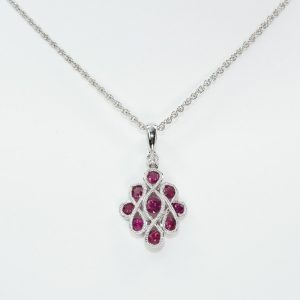 14k White Gold Natural Ruby and Diamond Infinity Ribbon Pendant
