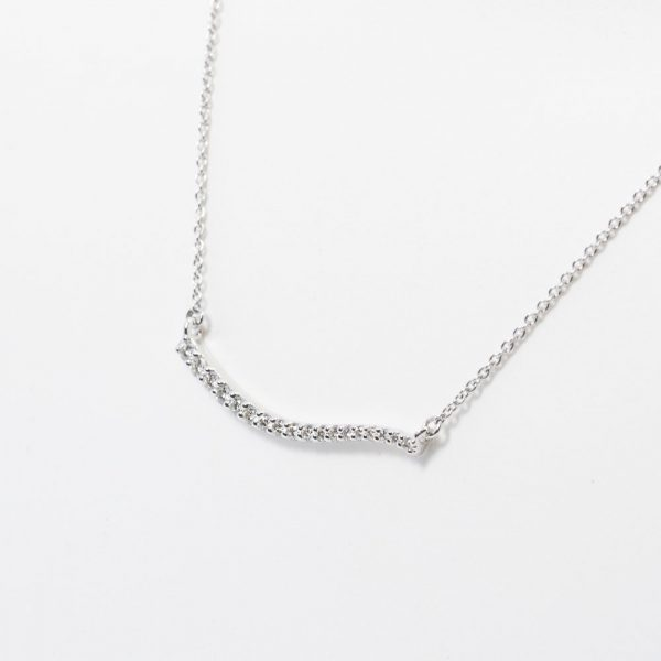 14k White Gold Natural Diamond Wave Necklace