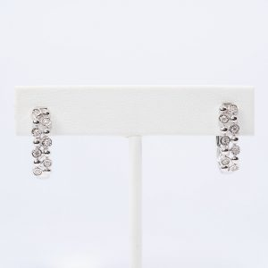 14k White Gold Natural Diamond Hoop Earrings