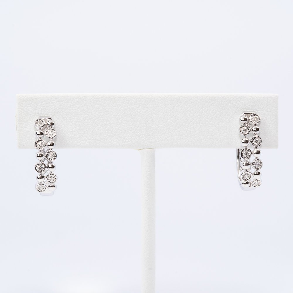 14k White Gold Natural Diamond Hoop Earrings