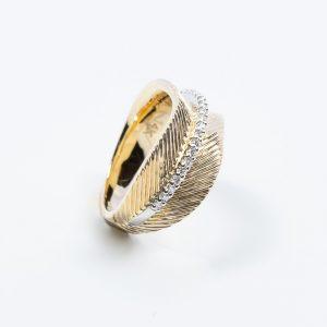 14k Yellow and White Gold Natural Diamond Ring