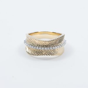 14k Yellow and White Gold Natural Diamond Ring