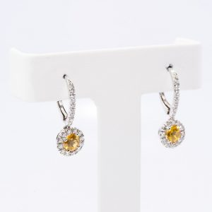 18k White Gold Natural Yellow Sapphire and Diamond Halo Dangle Earrings