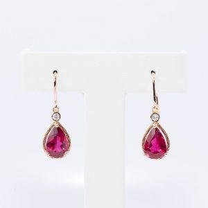 14k Rose Gold Natural Pink Tourmaline Dangle Earrings