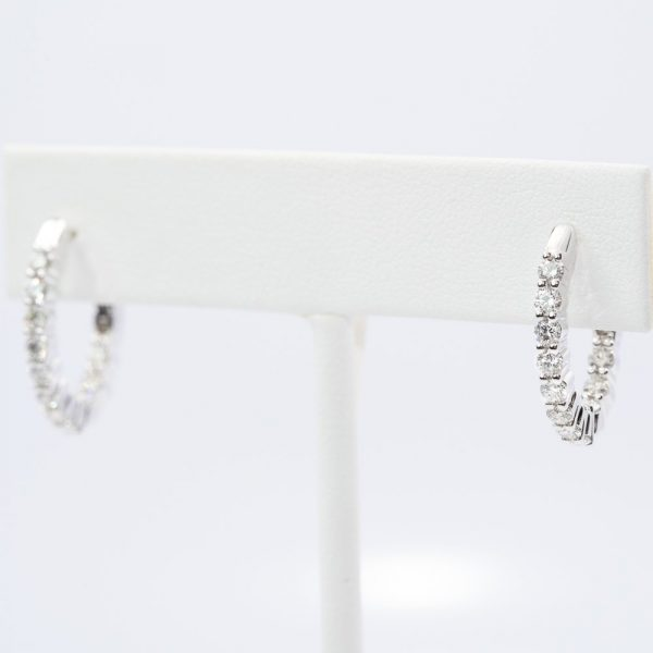 14k White Gold Natural Diamond Inside-Out Hoop Earrings