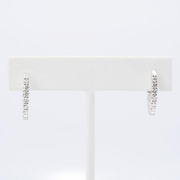 14k White Gold Natural Diamond Inside-Out Hoop Earrings