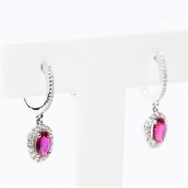 14k White Gold Natural Ruby and Diamond Halo Dangle Earrings