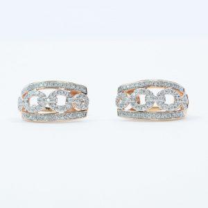 14k Rose and White Gold Natural Diamond Earrings