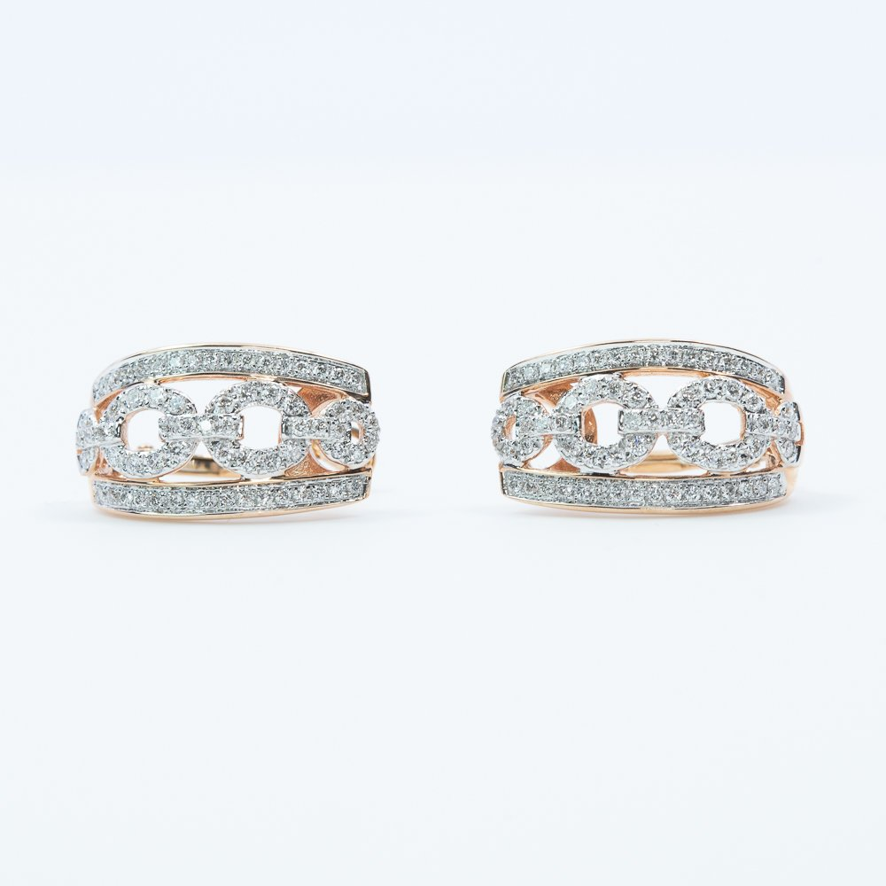 14k Rose and White Gold Natural Diamond Earrings