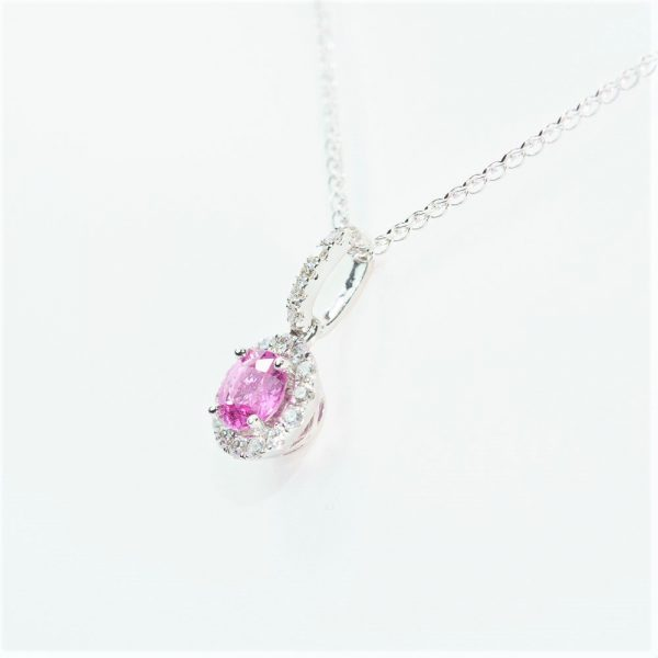 14k White Gold Natural Pink Sapphire and Diamond Halo Pendant