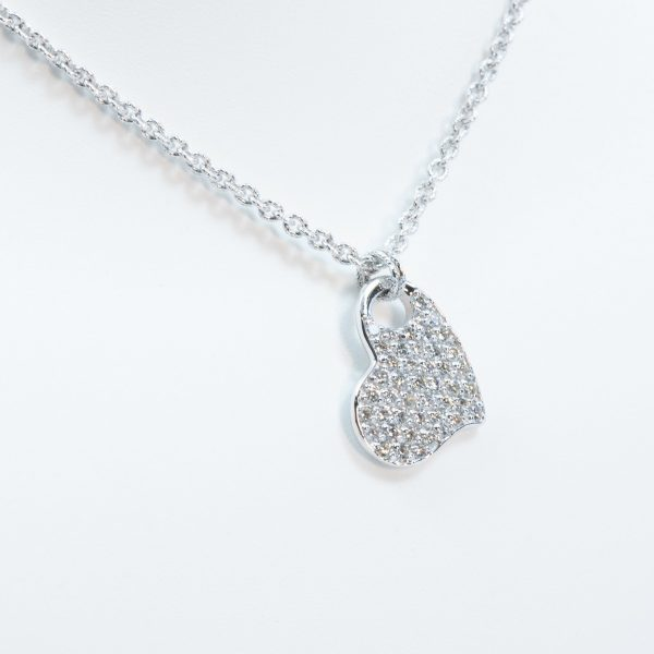 18k White Gold Natural Diamond Heart Necklace