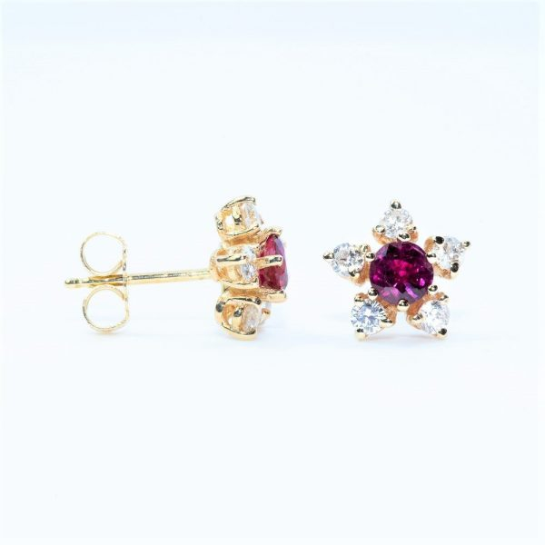 14k Yellow Gold Natural Ruby and Diamond Flower Halo Stud Earrings