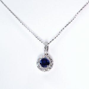 18K White Gold Natural Blue Sapphire and Diamond Halo Pendant
