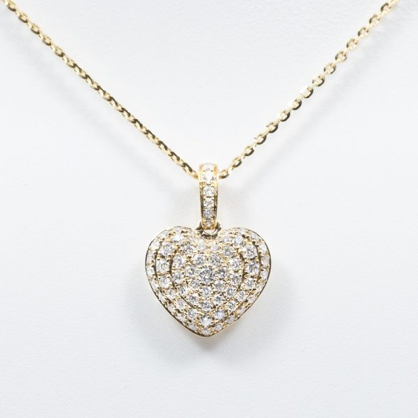 14K Yellow Gold Natural Diamond Heart Necklace