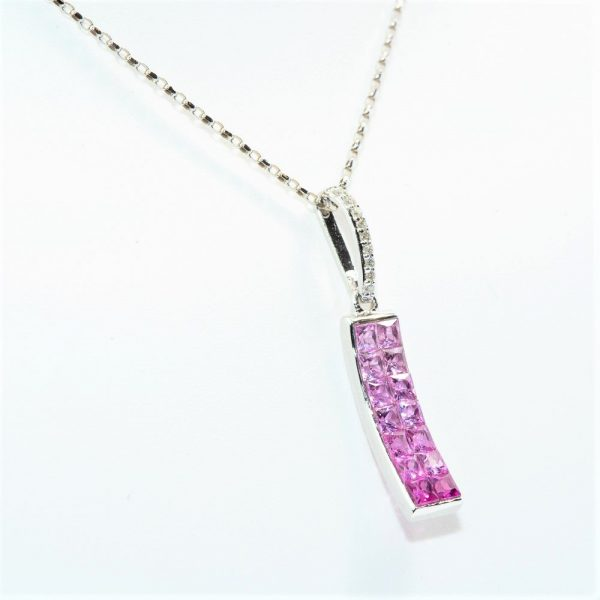 14K White Gold Natural Pink Sapphire and Diamond Pendant
