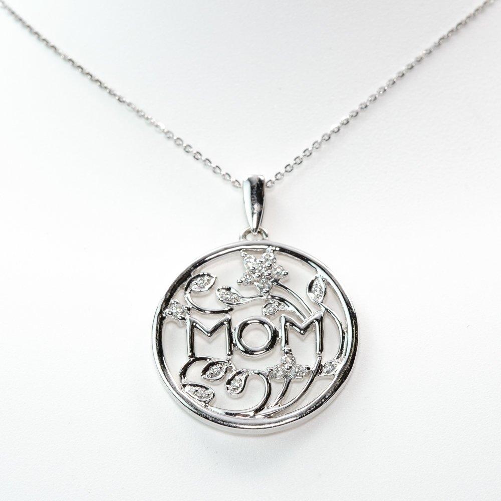 14k White Gold Natural Diamond MOM Flower Pendant