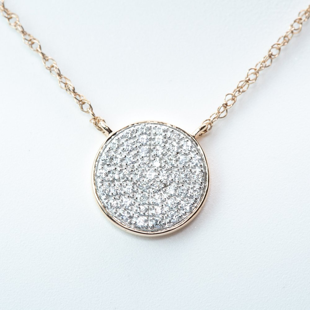 14k Rose Gold Natural Diamond Disc Necklace