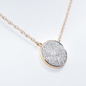 14k Rose Gold Natural Diamond Disc Necklace