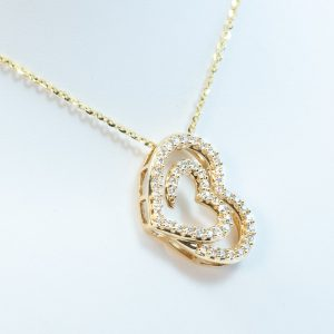 14k Yellow Gold Natural Diamond Double Heart Necklace