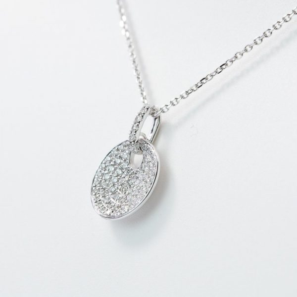 14k White Gold Natural Diamond Pave Disc Necklace