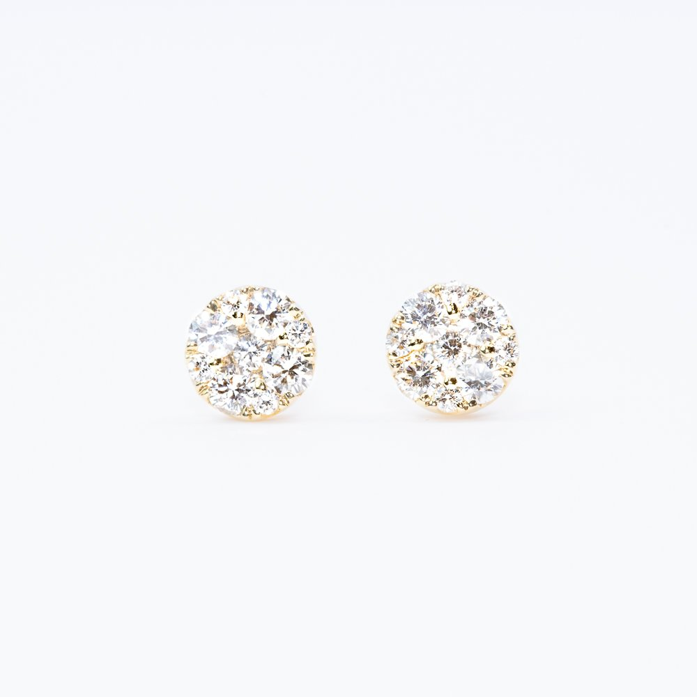 14k Yellow Gold Natural Diamond Cluster Earrings