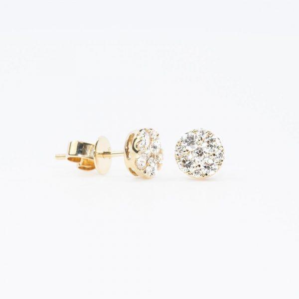 14k Yellow Gold Natural Diamond Cluster Earrings