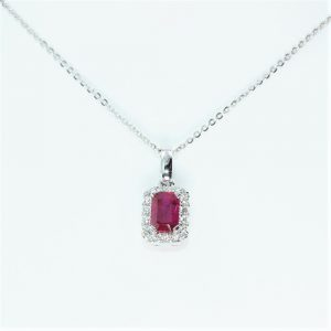 14k White Gold Natural Ruby and Diamond Halo Pendant