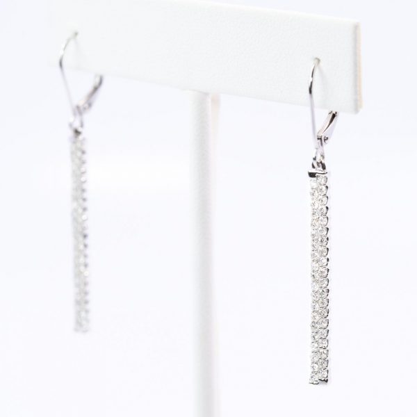 14k White Gold Natural Diamond Bar Earrings