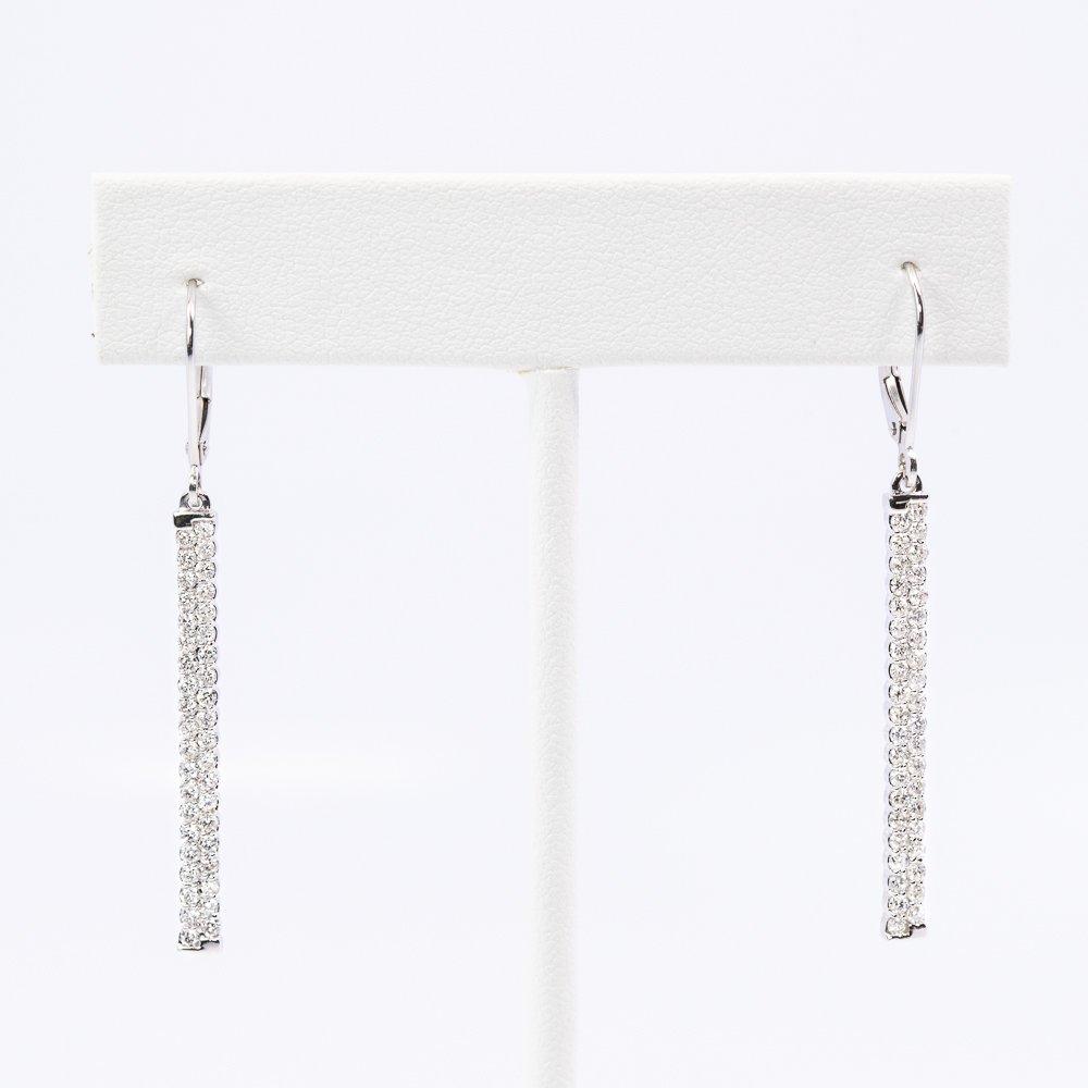 14k White Gold Natural Diamond Bar Earrings