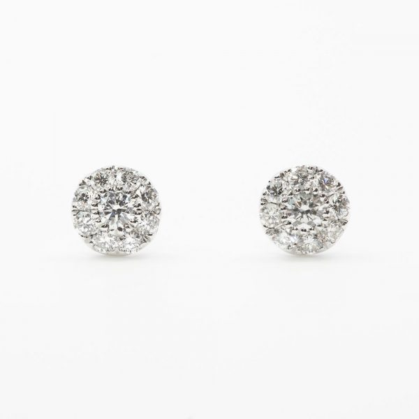 14k White Gold Natural Diamond Cluster Stud Earrings