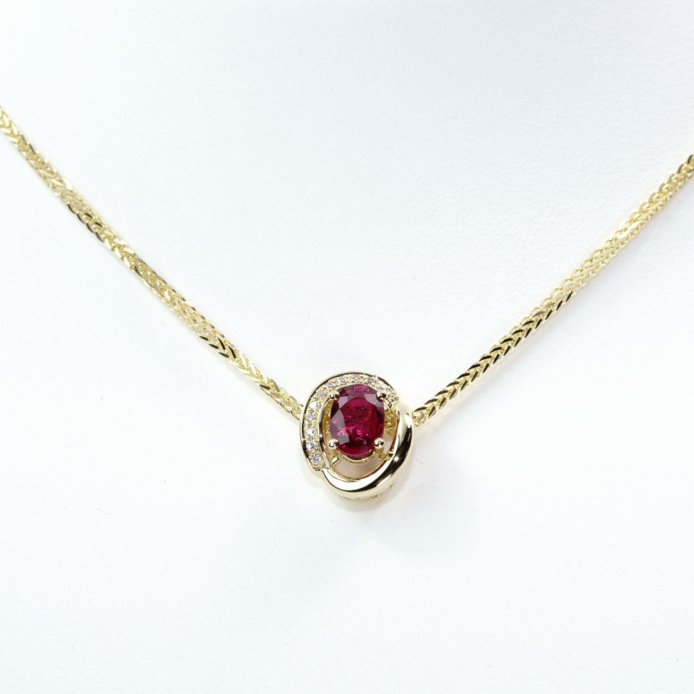 14k Yellow Gold Natural Ruby and Diamond Pave Pendant