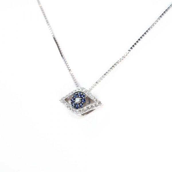 14k White Gold Natural Blue Sapphire and Diamond Eye Pendant